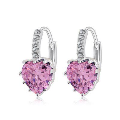 Buy PINK 18K Gold Filled Heart White Cubic Zirconia Crystal Hoop Clip On Earrings for $5.66 in GearBest store