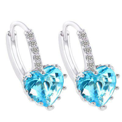 Buy SKY BLUE 18K Gold Filled Heart White Cubic Zirconia Crystal Hoop Clip On Earrings for $5.66 in GearBest store