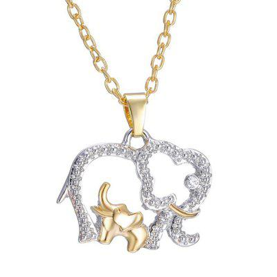 Mother's Day Gift Creative Necklace 18K Gold Cute Animal Double Elephant Pendant Gold  (Size: One Size, Color: Gold)