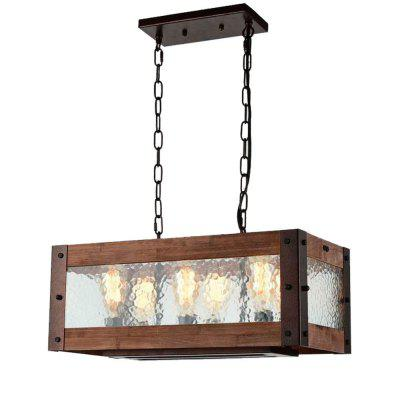 BW17029 Retro Rustic Style Wooden Pendant Light with E26 Base 6-LIGHT