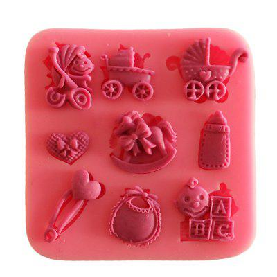 Facemile Baby Party Stroller Bottle Trojan Silicone Mold Soap Chocolate Fondant Gift Decoration Baking Tool