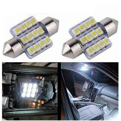 Sencart 2Pcs 12x2835SMD Festoon Car Map Dome LED Light DC 12V 31mm White/Blue