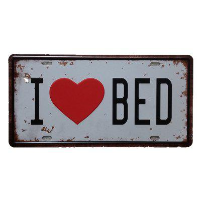 I Love Bed Vintage Metal Painting for Cafe Bar Restaurant Wall Decor