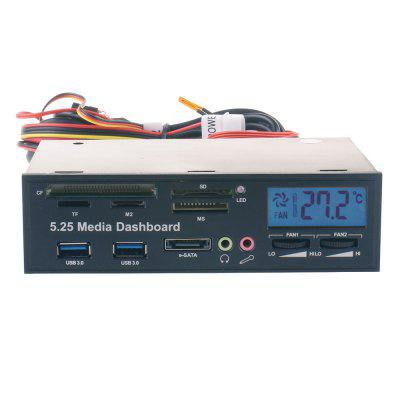 5.25 Inch PC Multifunctional Dashboard Media Front Panel  LCD Temperature  Controller e-SATA Dual USB 3.0 5in1 Card Read