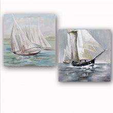 Happy Art Handed Canvas Modern Abstract  Sailing Boat 2PCS Oil Painting Art