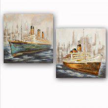 Happy Art Handed Canvas Modern Steamer Oil Painting Art