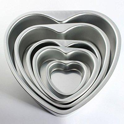 Heart Shape Bakeware Cake Pan 5pcs Set with Removable Bottom- Include 3 Inches 5 Inches 6 Inches 8 Inches 10 Inches