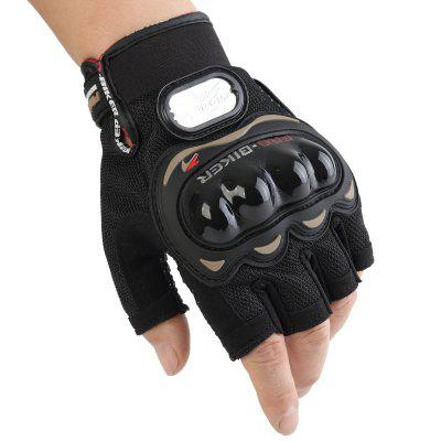 2pcs Motorcycle Half-finger Mesh Breathable Racing Protective Gloves