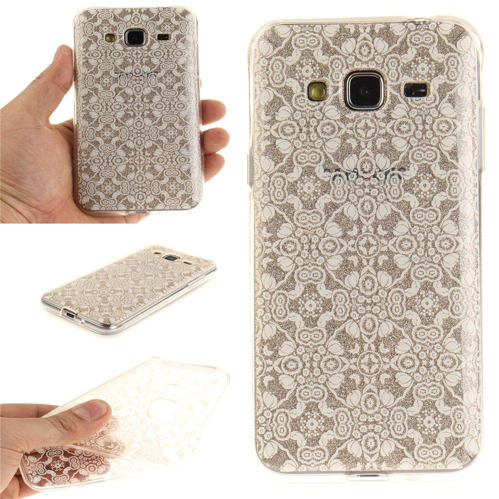 White Lace Soft Clear IMD TPU Phone Casing Mobile Smartphone Cover Shell Case para Samsung J3 J310