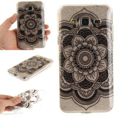 Black sunflower Soft Clear IMD TPU Phone Casing Mobile Smartphone Cover Shell Case para Samsung J3 J310