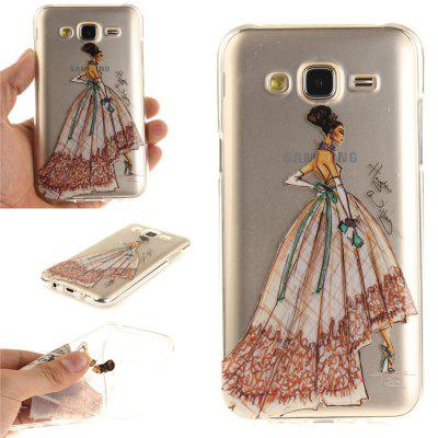 Hand-Painted Dress Soft Clear IMD TPU Phone Casing Mobile Smartphone Cover Shell Case for Samsung J5 2015