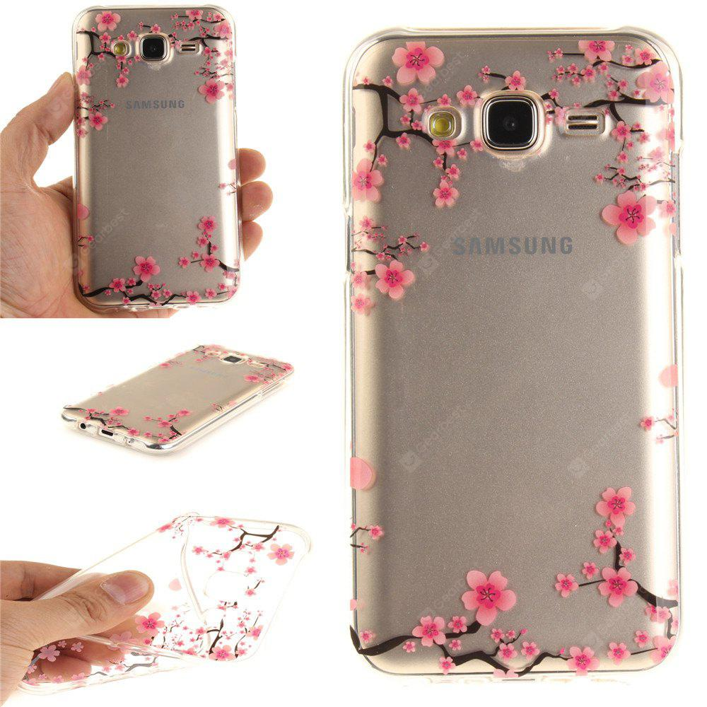 Up and Down The Plum Blossom Soft Clear IMD TPU Phone Casing Mobile Smartphone Cover Shell Case for Samsung J5 2015