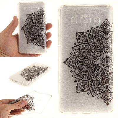 Black Half Flower Soft Clear IMD TPU Phone Casing Mobile Smartphone Cover Shell Case for Samsung J510 2016