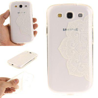 Half of White Flowers Soft Clear IMD TPU Phone Casing Mobile Smartphone Cover Shell Case for Samsung S3 I9300