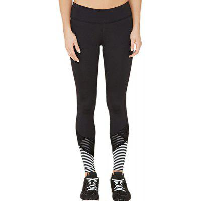 Frauen Mode Mesh Splicing Streifen Yoga Leggings