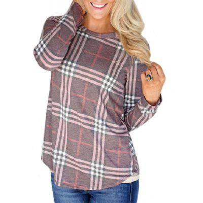 Women's Fashion Round Neck Plaid Long-Sleeved T-Shirt