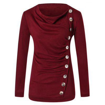 Women's Fashion Round Neck Ten Button Long Sleeve Solid Color T Shirt