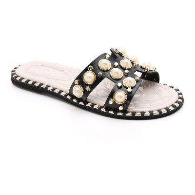 Women's Rivets Pearls Soft Bottom Cool Flat Slippers