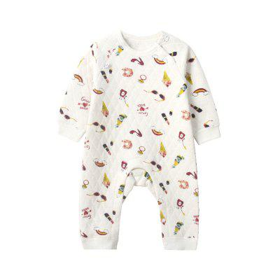 Body neonato Cute Cartoon Floral caldo trapuntato O Neck manica lunga Pagliaccetto Comodo