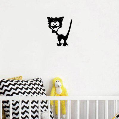 Cat-56 Funny Crazy Cat Wall Sticker Cartoon Animal Vinyl Wall Decal for Bedroom