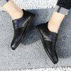 Men Casual Trend for Fashion Lace Up Leather Flat Outdoor Shoes - BLACK