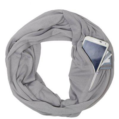 Pop Fashion Womens Solid Color Infinity Scarf Wrap Scarf with Zipper Pocket Infinity Scarv