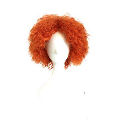 Mad Hatter Orange Color Short Curly Cosplay Wig Halloween Chirstmas Party Fancy Costume
