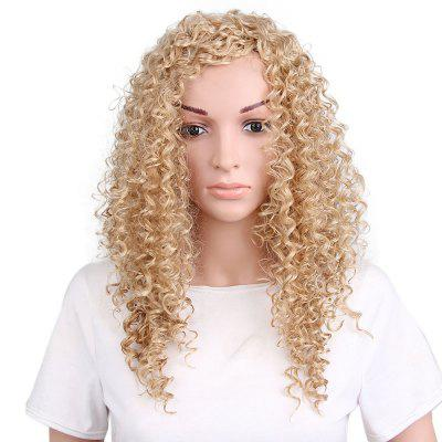 Women Fashion Style Kinky Curly Blonde Long Synthetic Hair Wig for Party