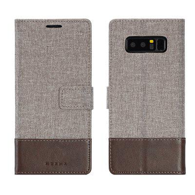 MUXMA Pure Color Retro Canvas Texture PU Leather Case Cover for Samsung Galaxy Note 8