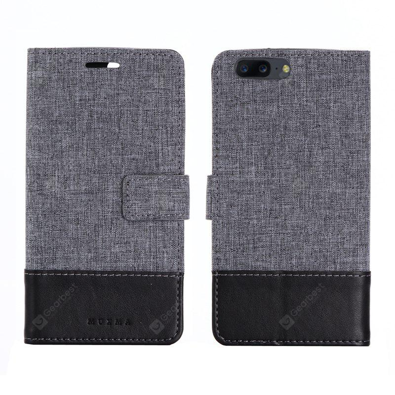 MUXMA Pure Color Retro Canvas Texture PU Leather Case Cover for One Plus 5