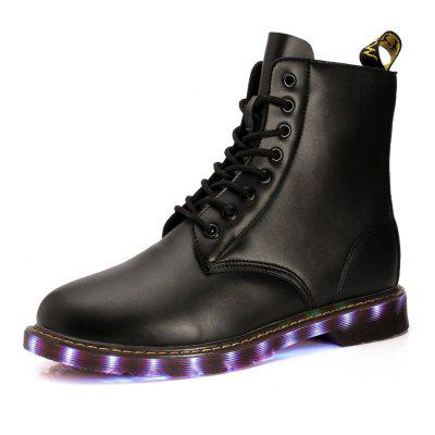 """Outdoor Real Leather Leisure Fashion Street LED Lamp Shoe Pair Shoes Martin Short BootsMens Boots<br>Outdoor Real Leather Leisure Fashion Street LED Lamp Shoe Pair Shoes Martin Short Boots<br><br>Boot Height: Knee-High<br>Boot Type: Fashion Boots<br>Closure Type: Lace-Up<br>Embellishment: None<br>Gender: For Men<br>Heel Hight: Flat(0-0.5"""")<br>Heel Type: Flat Heel<br>Outsole Material: Rubber<br>Package Contents: 1 xShoes(pair)<br>Pattern Type: Solid<br>Season: Summer, Winter, Spring/Fall<br>Toe Shape: Round Toe<br>Upper Material: Synthetic<br>Weight: 1.1088kg"""