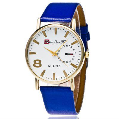 ZhouLianFa New Trend of Smooth Leather Golden Business Casual Flour Crystal Quartz Watch