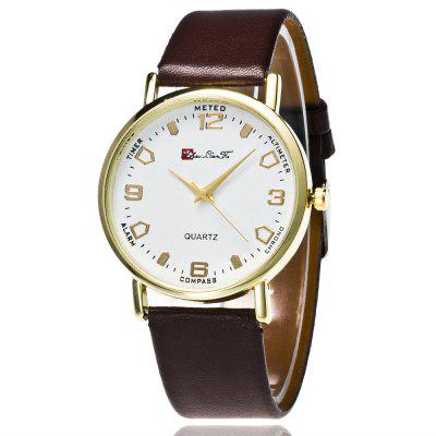 ZhouLianFa The New Trend of Smooth Leather Golden Business Casual White Digital Quartz Watch