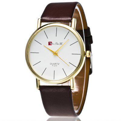 ZhouLianFa New Trend of Smooth Leather Golden Business Casual Nails White Quartz Watch