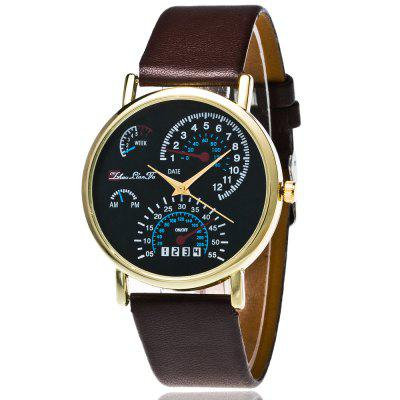 ZhouLianFa New Fashion Luxury Goods Smooth Leather Strap Gold Dial Business Quartz Watch