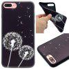 Dandelion Pattern TPU Soft Case para iPhone 7 Plus / 8 Plus - PRETO