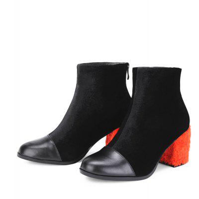 Contrast Color Block Heeled Ankle BootsWomens Boots<br>Contrast Color Block Heeled Ankle Boots<br><br>Boot Height: Ankle<br>Boot Type: Fashion Boots<br>Closure Type: Zip<br>Gender: For Women<br>Heel Type: Chunky Heel<br>Package Contents: 1 x shoes(pair)<br>Pattern Type: Others<br>Season: Spring/Fall, Winter<br>Toe Shape: Round Toe<br>Upper Material: Suede<br>Weight: 1.6800kg