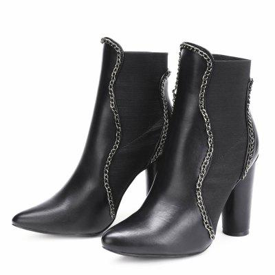 Chain Design Block Heeled Ankle BootsWomens Boots<br>Chain Design Block Heeled Ankle Boots<br><br>Boot Height: Ankle<br>Boot Type: Fashion Boots<br>Closure Type: Elastic band<br>Gender: For Women<br>Heel Type: Chunky Heel<br>Package Contents: 1 x shoes(pair)<br>Pattern Type: Others<br>Season: Spring/Fall, Winter<br>Toe Shape: Pointed Toe<br>Upper Material: PU<br>Weight: 1.6800kg