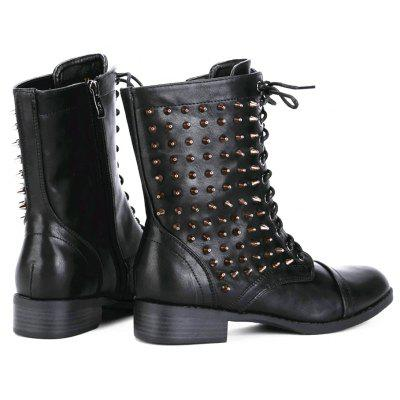 Punk Lace Up Studded BootsWomens Boots<br>Punk Lace Up Studded Boots<br><br>Boot Height: Ankle<br>Boot Type: Fashion Boots<br>Closure Type: Lace-Up<br>Gender: For Women<br>Heel Type: Low Heel<br>Package Contents: 1 x shoes(pair)<br>Pattern Type: Others<br>Season: Spring/Fall, Winter<br>Toe Shape: Round Toe<br>Upper Material: PU<br>Weight: 1.5600kg