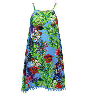 Leaves Floral Tassel Dress without Necklace