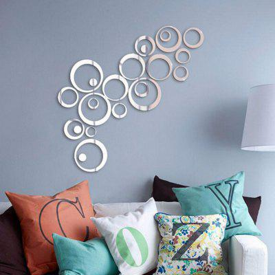 24Pcs DIY Circle Acrylic Mirror  Modern Art Mural Wall Stickers  Sofa  Background Home Decor