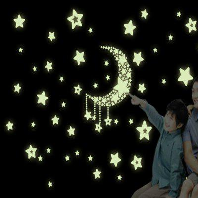 Luminous stickers /fluorescent stickers/ Moon and stars/Wall Sticker Wall Mural Home Decor Room Moon Star