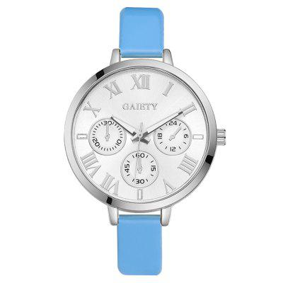 GAIETY G226 Women Silver Dial Leather Bracelet Watch