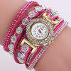 DUOYA D196 Women Wrap Montre-bracelet à quartz avec diamant - ROUGE ROSE