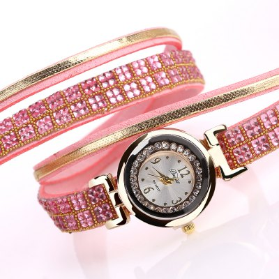 DUOYA D187 Women Wrap Leather Quartz Bracelet Wrist Watch with RhinestonesWomens Watches<br>DUOYA D187 Women Wrap Leather Quartz Bracelet Wrist Watch with Rhinestones<br><br>Band material: PU<br>Band size: 40.7 x 1.7 cm<br>Case material: Alloy<br>Dial size: 2.5 x 2.5 x 0.7 cm<br>Display type: Analog<br>Movement type: Quartz watch<br>Package Contents: 1 x Watch<br>Package size (L x W x H): 23.00 x 5.00 x 3.00 cm / 9.06 x 1.97 x 1.18 inches<br>Package weight: 0.0250 kg<br>Product size (L x W x H): 40.70 x 2.50 x 0.70 cm / 16.02 x 0.98 x 0.28 inches<br>Product weight: 0.0230 kg<br>Shape of the dial: Round<br>Watch mirror: Mineral glass<br>Watch style: Jewellery, Fashion, Retro, Casual, Cool, Lovely, Childlike, Wristband Style<br>Watches categories: Women,Female table<br>Water resistance: No