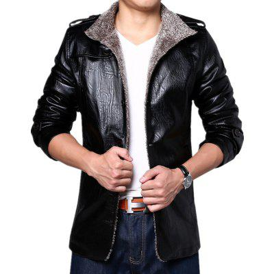 Men Cashmere PU Leather Jacket Autumn Winter Coat