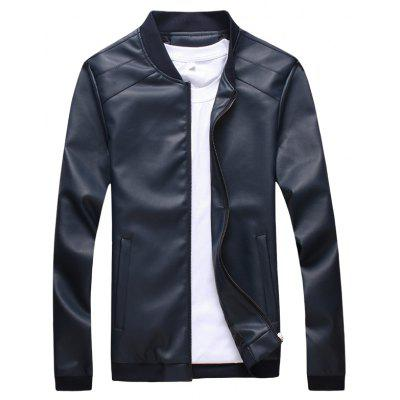 Simple Men All-Match Stitching Leather Coat