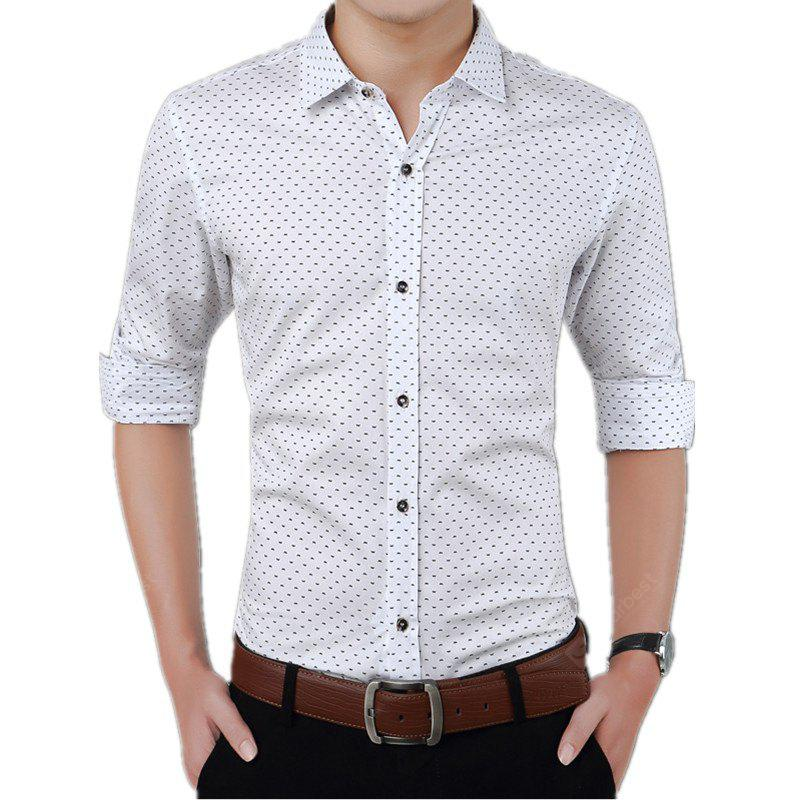 Man'S Print Pure Cotton and Long Sleeved Shirt