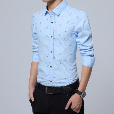 Feather Print Pure Cotton and Long Sleeved ShirtMens Shirts<br>Feather Print Pure Cotton and Long Sleeved Shirt<br><br>Collar: Turn-down Collar<br>Material: Cotton<br>Package Contents: 1 x Shirt<br>Shirts Type: Casual Shirts<br>Sleeve Length: Full<br>Weight: 0.2200kg