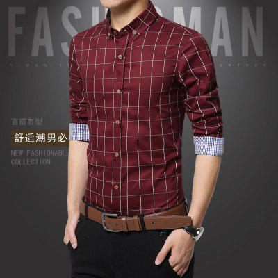 Long Sleeved Casual Shirt for MenPlus Size Tops<br>Long Sleeved Casual Shirt for Men<br><br>Collar: Turn-down Collar<br>Material: Cotton<br>Package Contents: 1 x Shirt<br>Shirts Type: Casual Shirts<br>Sleeve Length: Full<br>Weight: 0.2300kg